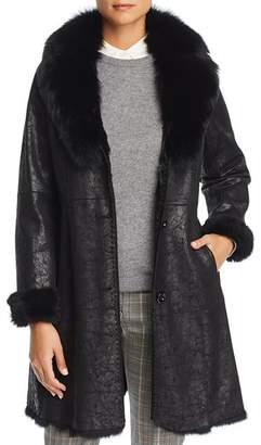 Maximilian Furs Rabbit Fur Coat with Fox Fur Collar
