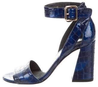 Stuart Weitzman Embossed Ankle Strap Sandals