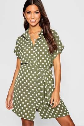boohoo Woven Polka Dot Belted Shirt Dress