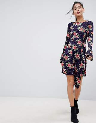 Asos DESIGN Mini Dress With Hanky Hem And Frill Cuff In Spot Floral Print