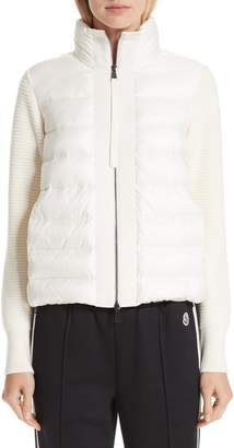 Moncler Quilted Down & Knit Cardigan