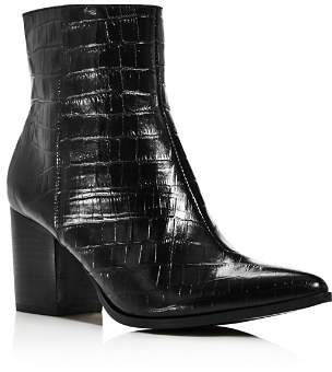 Jaggar Women's Grounded Croc-Embossed Leather Booties