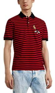 Gucci Men's Bug & Lightning-Bolt Cotton Polo Shirt - Red