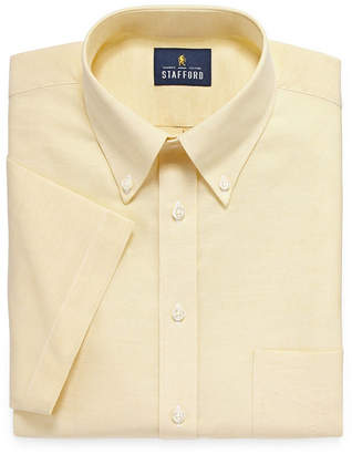 STAFFORD Stafford Travel Wrinkle Free Stretch Oxford Short Sleeve Big and Tall Stripe Dress Shirt