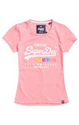 Superdry Women's Premium Goods Puff Entry Tee Kniited Tank Top, (Neon Pink Snowy Zv0), (Size: 12)