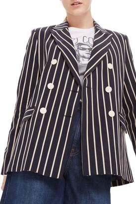 Topshop Linen Striped Double Breasted Jacket