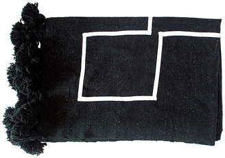 One Kings Lane Moroccan Pom-Pom Blanket - Black/White