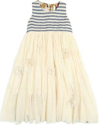 Striped Linen & Stretch Tulle Dress