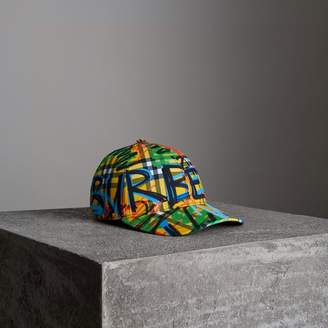 Burberry Graffitied Scribble Check Baseball Cap