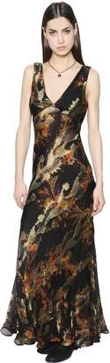 Etro Floral Printed Silk Chiffon & Lamé Dress
