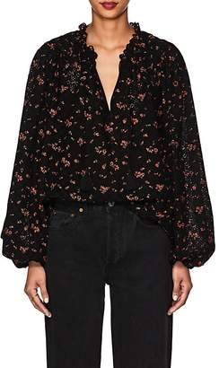 Ulla Johnson Women's Siarah Floral Cotton Eyelet Blouse