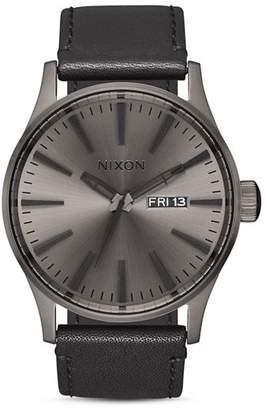 Nixon Sentry Leather Watch, 42mm