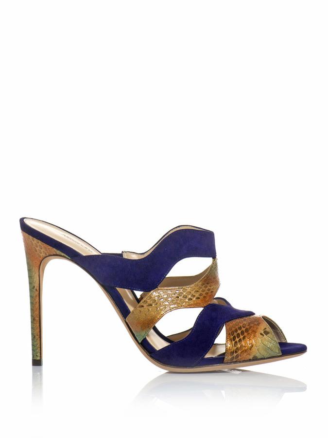 Alexandre Birman Watersnake and suede mule sandals