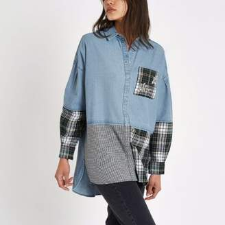 River Island Blue check rhinestone patchwork denim shirt