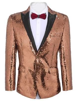 Etuoji Men's Shiny Sequins Suit Jacket Bazer Tuxedo for Party,Banquet,Nightcub