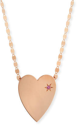 Lana 14k Large Heart Pendant Necklace w/ Pink Sapphire