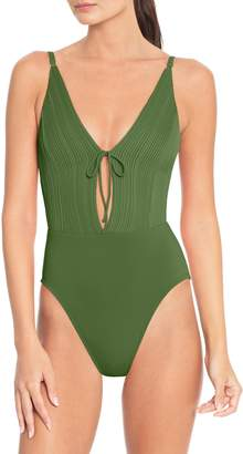 Robin Piccone Tie Front One-Piece Swimsuit