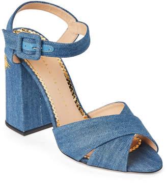Charlotte Olympia Light Blue Emma Denim Block Heel Sandals