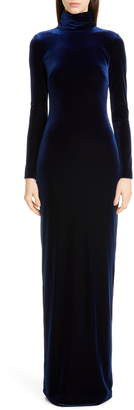 Badgley Mischka Collection Long Sleeve Velvet Gown
