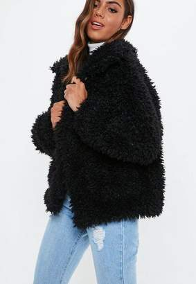 Missguided Black Boxy Shaggy Teddy Jacket, Black