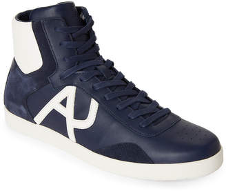 Armani Jeans Blue Leather High-Top Sneakers