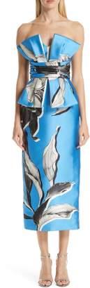 VERDIN Strapless Floral Print Cocktail Dress