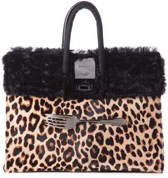 William Paris Cheetah Print Hair & Black Fur Bag