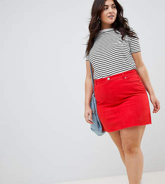 Asos DESIGN Curve denim mini skirt in red