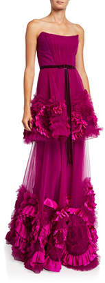 Marchesa Strapless Mixed Media Textured Tiered Gown w/ Corseted Bodice