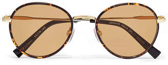 Le Specs Zephyr Deux Round-frame Tortoiseshell Acetate And Gold-tone Sunglasses - Brown