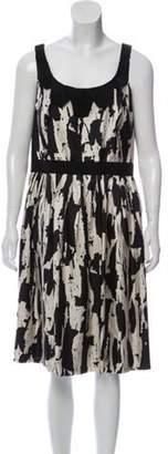 Carmen Marc Valvo Silk Abstract-Printed Dress Cream Silk Abstract-Printed Dress
