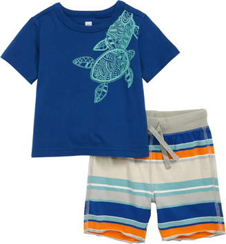 Tea Collection Sea Turtle Graphic T-Shirt & Shorts Set