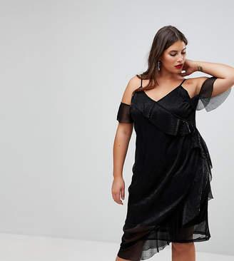 Naanaa Plus Wrap Front Glitter Midi Dress