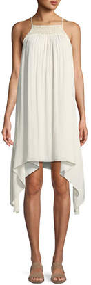 Halston Smocked High-Neck Sleeveless Dress