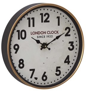 DecMode Decmode 16 Inch Contemporary Metal London-Inspired Round Wall Clock, Distressed
