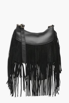 boohoo Tassel Hobo Cross Body Bag