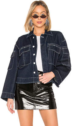GRLFRND Dorian Oversized Cropped Military Jacket.