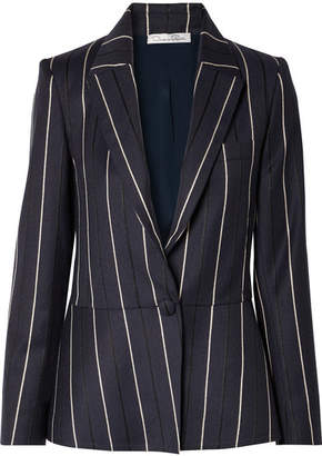 Oscar de la Renta Striped Wool-blend Blazer - Navy