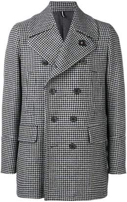Lardini houndstooth patterned coat