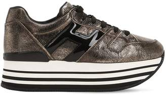 Hogan 70mm Maxi 222 Crackled Leather Sneakers