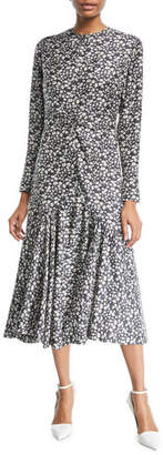 Calvin Klein Daisy-Print Long-Sleeve Silk Midi Dress