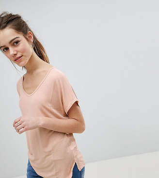 Asos DESIGN Petite t-shirt with drapey batwing sleeve in pink