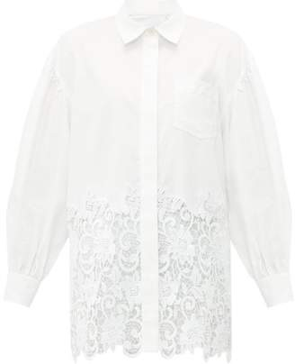 Burberry Oversized Macrame Lace Trimmed Cotton Oxford Shirt - Womens - White