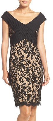 Women's Tadashi Shoji Off The Shoulder Mixed Media Sheath Dress $268 thestylecure.com