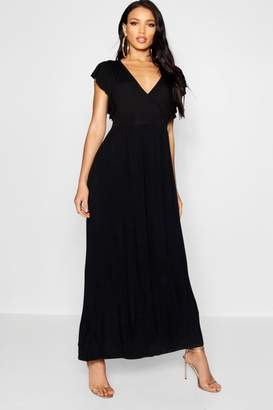 boohoo Ruffle Sleeve Tie Back Maxi Dress