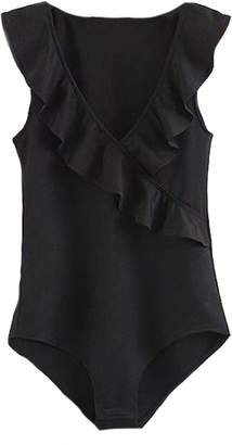 Goodnight Macaroon 'Jael' Black Ruffle Wrapped Bodysuit