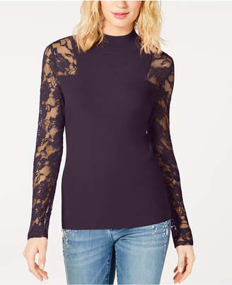 INC International Concepts I.n.c. Petite Lace-Sleeve Sweater