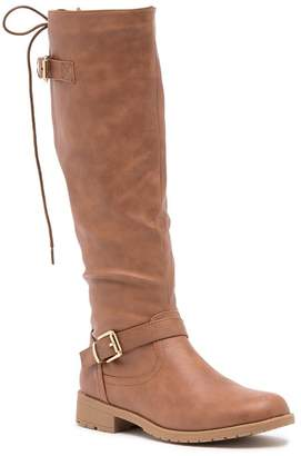 Top Moda Gliding Back Lace-Up Riding Boot