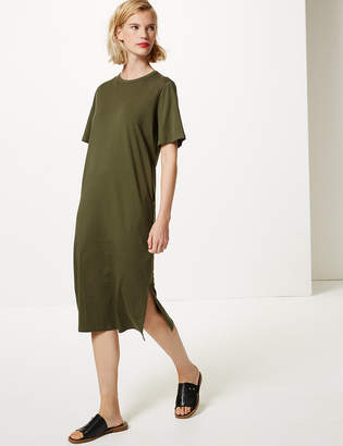 Marks and Spencer Pure Cotton T-Shirt Midi Dress