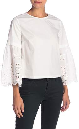 ENGLISH FACTORY Eyelet Lace Bell Sleeve Top